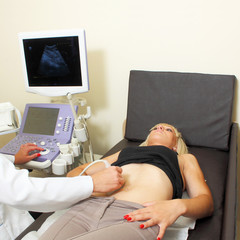 woman has her ultra sound check up.