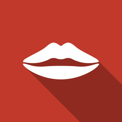 lips icon with long shadow