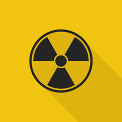 radioactive sign icon with long shadow