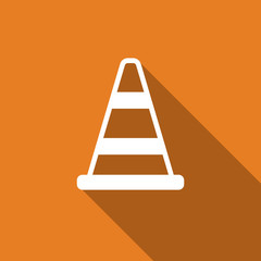 road cone icon with long shadow