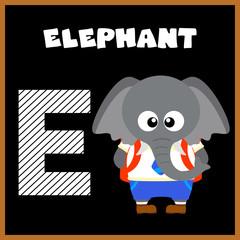 The English alphabet letter E, Elephant