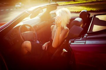girl in cabriolet
