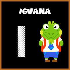 The English alphabet letter I, Iguana