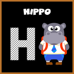 The English alphabet letter H, Hippo