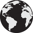 Black and white globe with transparency continents - 71427883