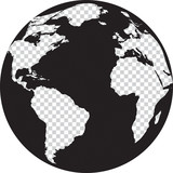 Black and white globe with transparency continents poster