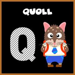 The English alphabet letter Q, Quoll