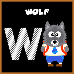 The English alphabet letter W, Wolf