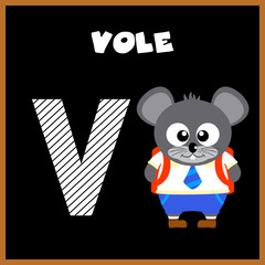 The English alphabet letter V, Vole
