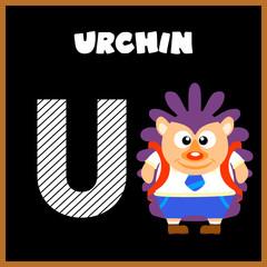 The English alphabet letter U, Urchin