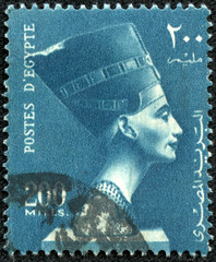 stamp printed by Egypt, shows Queen Nefertiti