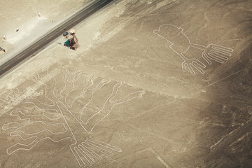 Tree (Arbol) and Hands (Manos) lines in Nazca desert and observa