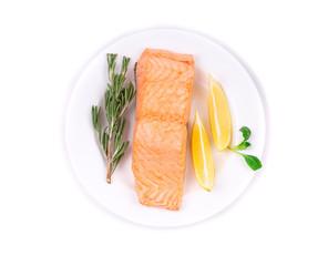 Fresh salmon steak on a plate