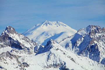 Close view of Mount Elbrus summit that Is a dormant volcano loca