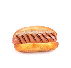 Hot dog isolated on white with bun