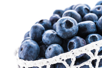 Blueberry basket isolated on white