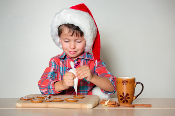 Little boy decorating the gingerbread cookies