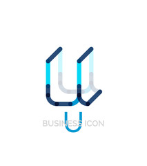 Minimal U font or letter logo design