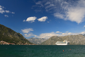Large ship leaves the Bay of Kotor, Montenegro