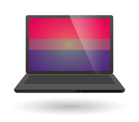 laptop with a bisexual pride flag
