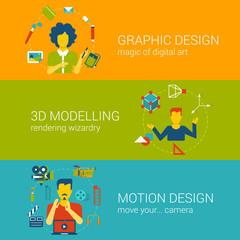 Design process professions concept flat set vector infographics