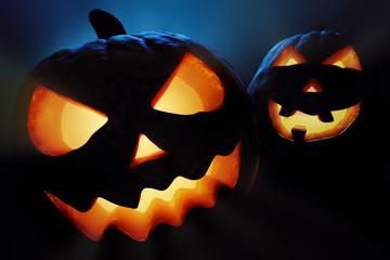 Halloween pumpkins closeup -  jack o'lantern