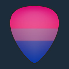 guitar pick with a bisexual pride flag