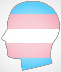 head with a transgender pride flag