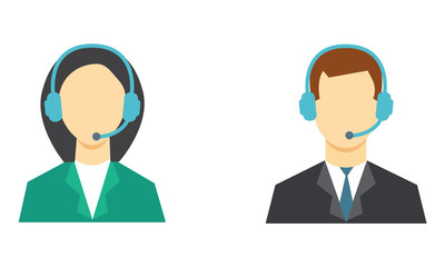 Call center avatar. Male and female avatar icon.