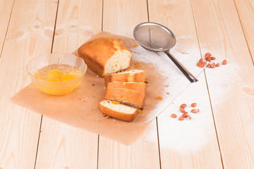 Delicious cake on wooden background