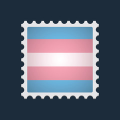 mail stamp with a transgender pride flag