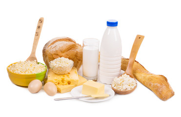 Dairy products and bread isolated on white