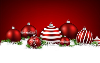 Red winter background with christmas balls.