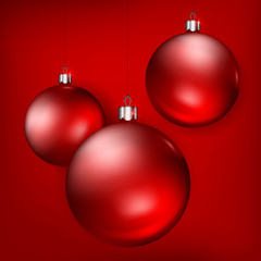 Hanging red Christmas balls on background, vector illustration