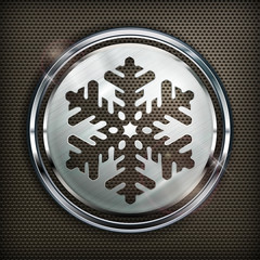 Round snowflake icon on metallic background, vector illustration
