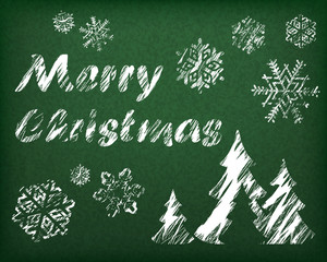 Christmas background with fir tree in white on green, vector