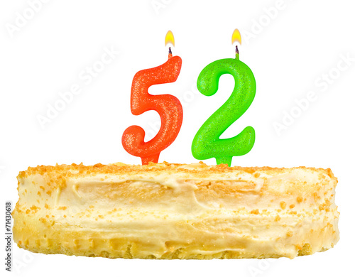 Poster birthday cake with candles number fifty two isolated on white