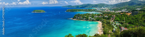 Plexiglas Luchtfoto Bird-eye panorama of Phuket coastline on sunny day