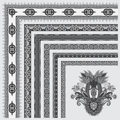 grey set of seamless ornamental floral stripes