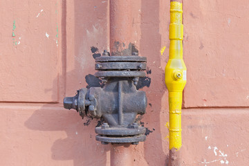 Gas pipe on the wall