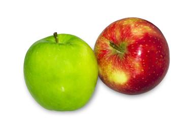 Fresh Green, Red apples on white