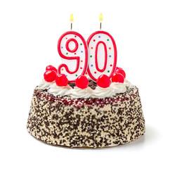Geburtstagstorte mit brennender Kerze Nummer 90