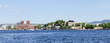 View on Oslo Fjord harbor and Akershus Fortress panorama