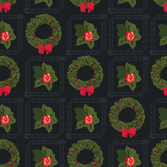 Advent Wreath Motif Christmas Seamless Pattern