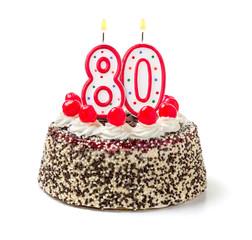 Geburtstagstorte mit brennender Kerze Nummer 80