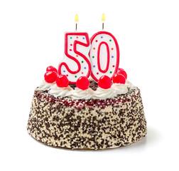 Geburtstagstorte mit brennender Kerze Nummer 50
