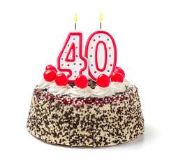Geburtstagstorte mit brennender Kerze Nummer 40
