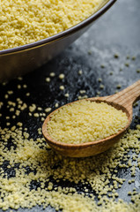 Couscous raw on table