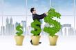 Asian entrepreneur cutting the money tree