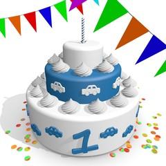 Feestje taart en vlaggetjes voor 1e verjaardag